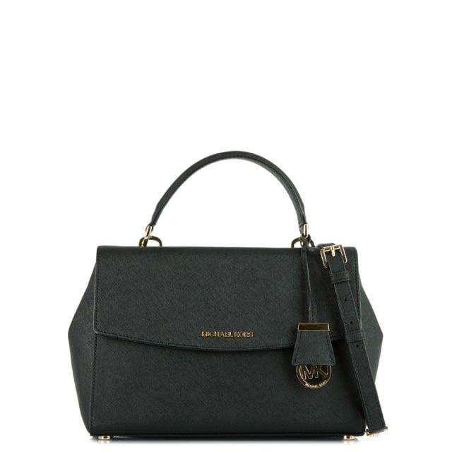 093c4b3fcec6 Michael Kors Ava Medium Black Saffiano Leather Satchel Bag