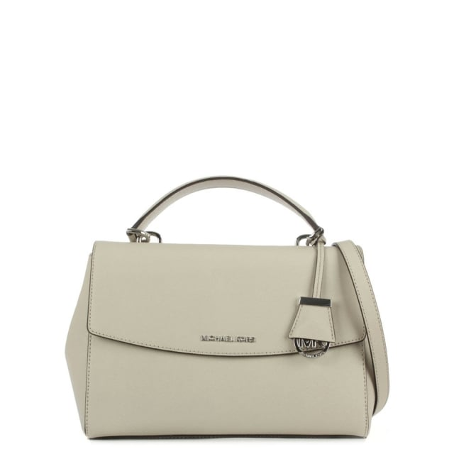 Ava Medium Grey Leather Saffiano Satchel Bag