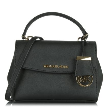 Ava Mini Black Leather Cross-Body Bag