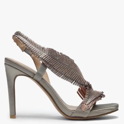c9027143af4695 Averly Gold Metallic Satin Feather Embellished Evening Sandals