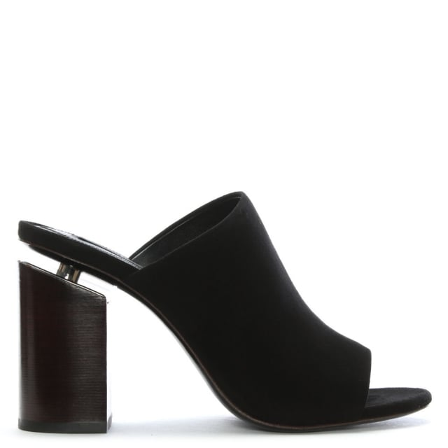 Avery Black Suede Block Heel Mules