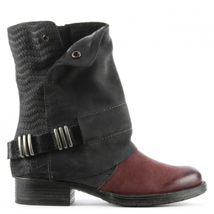 Avina Black & Burgundy Leather Chunky Biker Boot