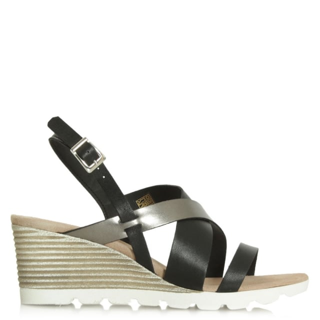 Aycliffe Black Mid Wedge Sandal
