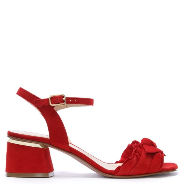 Azera Red Suede Rouched Block Heel Sandals