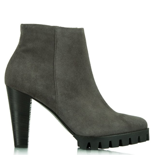 Azurmendi Pewter Suede Leather Heeled Ankle Boot