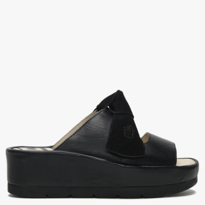 e045332e9cc Bade Black Leather Flatform Mules