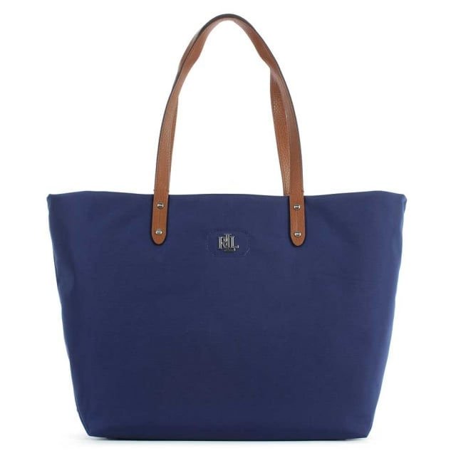 Bainbridge Navy Leather Handle Tote