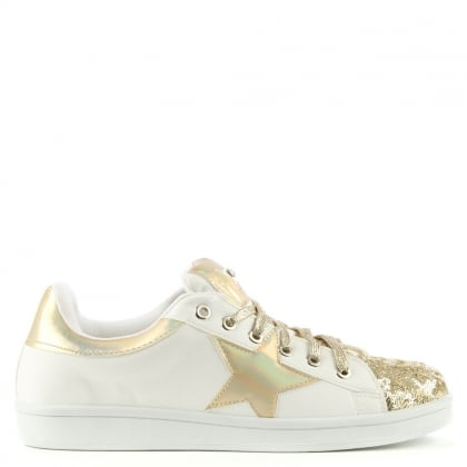 Bainton Gold Metallic Contrast Glitter Star Trainer