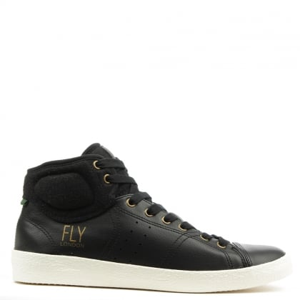 Fly London Balk Black Leather Lace Up High Top Trainer