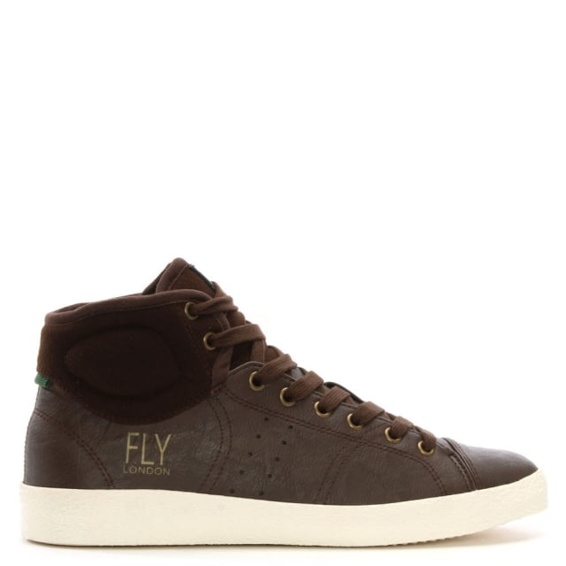 Balk Brown Leather Lace Up High Top Trainers