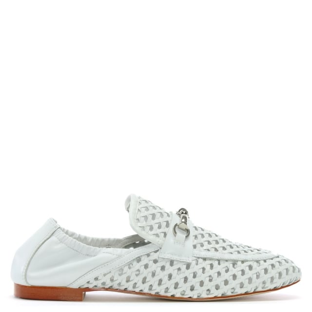 Ballena White Leather Woven Loafers