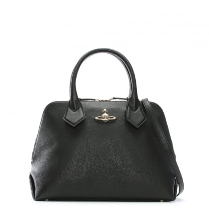 Balmoral Black Leather Dome Tote Bag