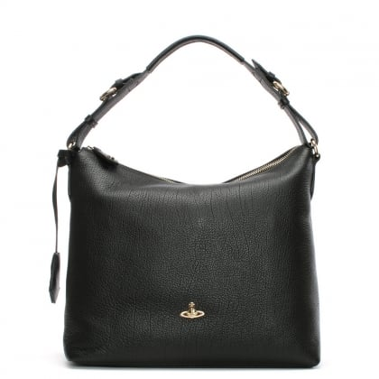 Balmoral Black Leather Hobo Bag