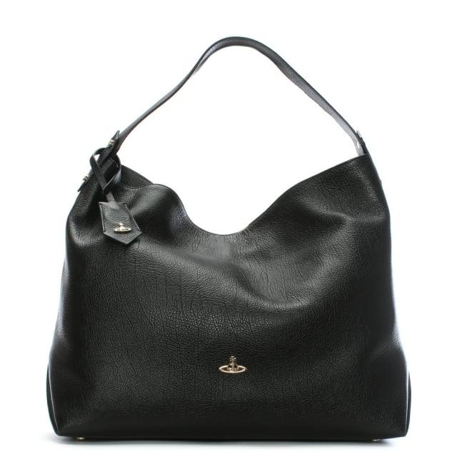Vivienne Westwood Balmoral II Black Leather Hobo Bag