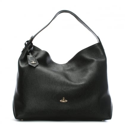 Balmoral II Black Leather Hobo Bag