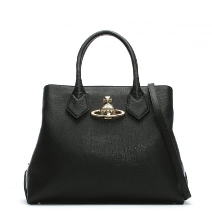 Balmoral Large Black Leather Shopper Bag