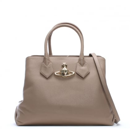 Balmoral Large Taupe Leather Shopper Bag