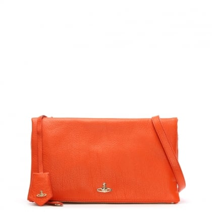 Balmoral Orange Leather Cross-Body Bag