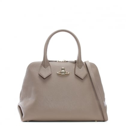 Balmoral Taupe Leather Dome Tote Bag