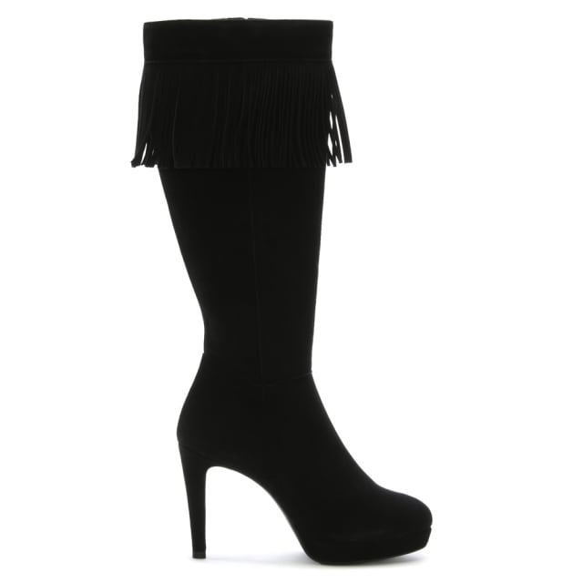 Balza Black Suede Fringed Top Knee Boots