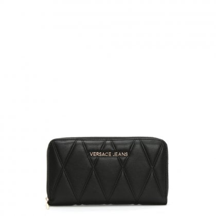 Band Black Quilted Zip Around Wallet