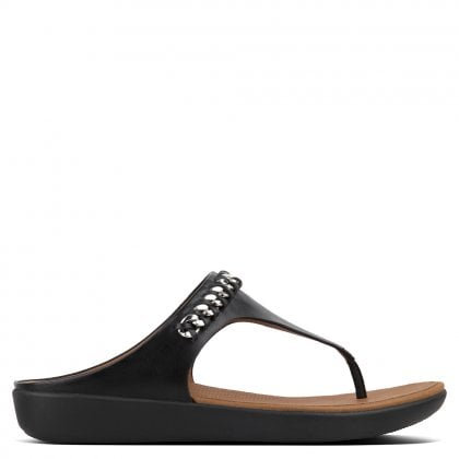Banda Chain Black Leather Toe Post Sandals