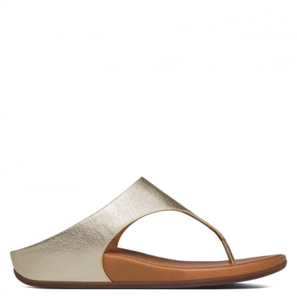 Banda Gold Leather Toe Post Sandals