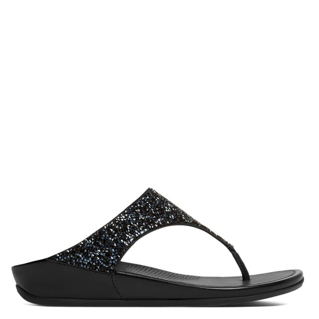 Banda Roxy Black Toe Post Sandals
