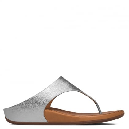Banda Silver Leather Toe Post Sandals