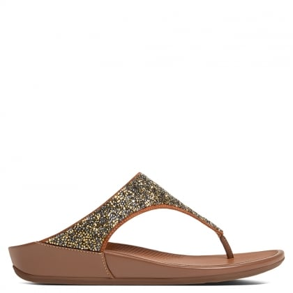 9de663a36c3 FitFlop Banda Sparklie Gold Toe Post Sandals
