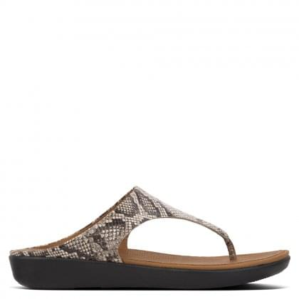 Banda Taupe Snake Leather Toe Post Sandals