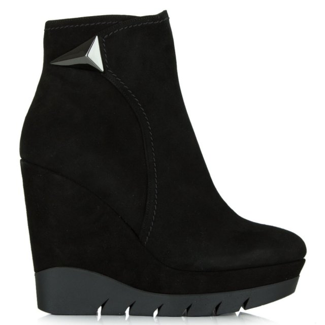 Banff Black Suede Wedge Ankle Boot