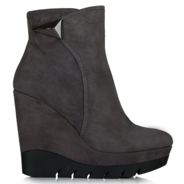 Banff Grey Suede Wedge Ankle Boot