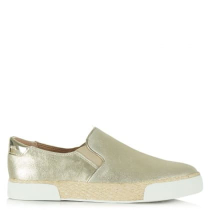 Banks Gold Leather Sporty Espadrille Pump