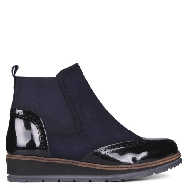 Banteng Navy Patent Leather Low Wedge Low Wedge Boots