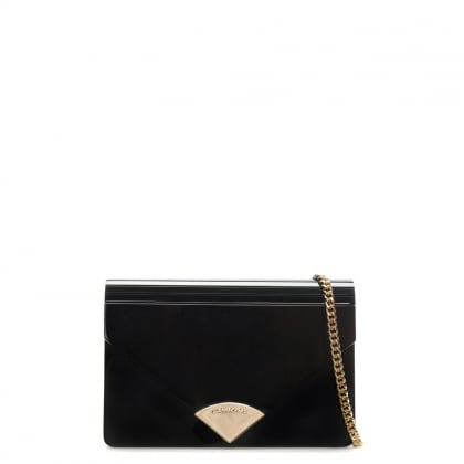 Barbara Black Patent Envelope Clutch Bag