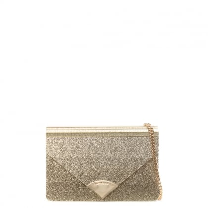 Barbara Gold Metallic Envelope Clutch Bag