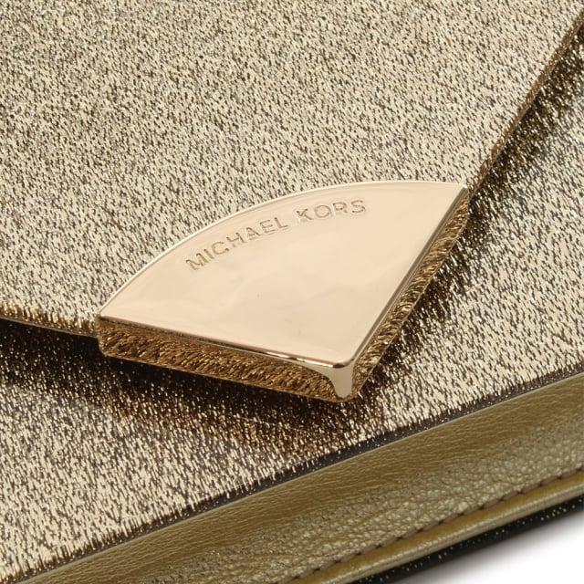 e9fd357a667 Michael Kors Barbara Gold Metallic Envelope Clutch Bag