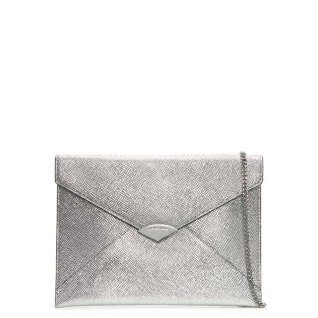 Barbara Large Silver Leather Envelope Clutch Bag