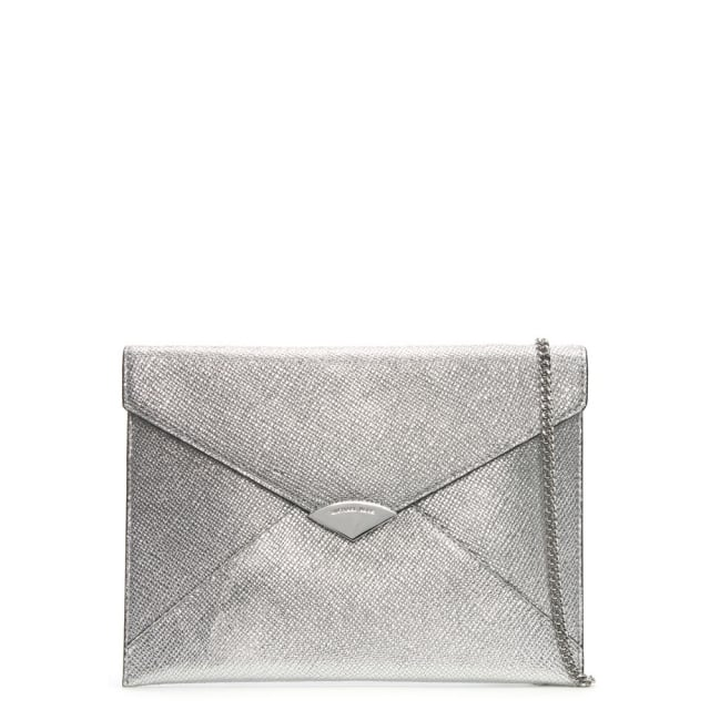 Barbara Large Silver Leather Envelope Clutch Bag