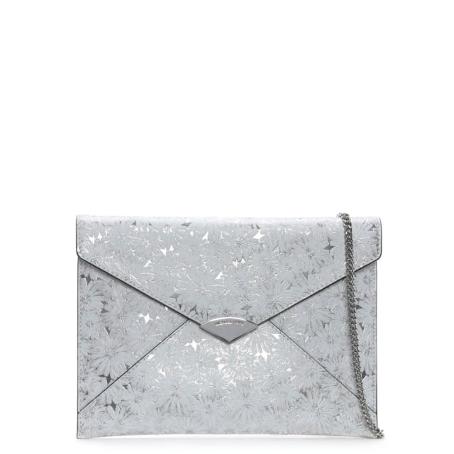 Barbara Large White & Silver Metallic Floral Envelope Clutch Bag