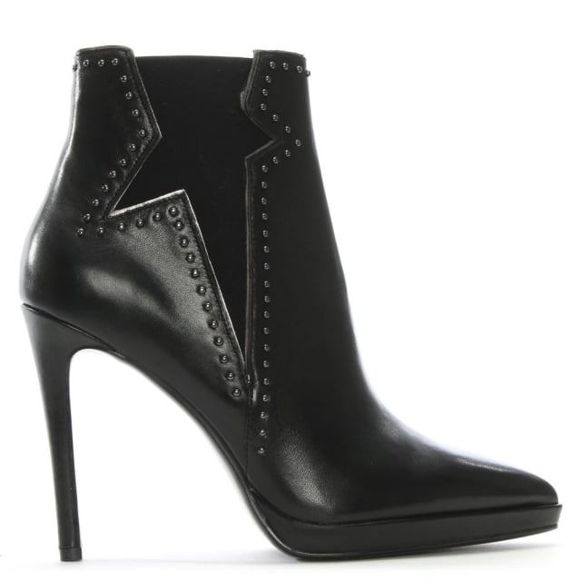 Lola Cruz Barek Black Leather Studded Ankle Boots