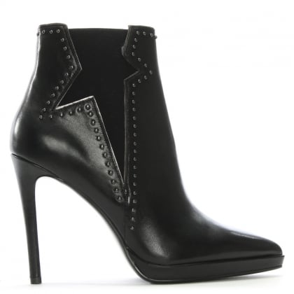 Barek Black Leather Studded Ankle Boots