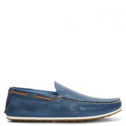 Bargoed Navy Leather Perforated Loafer