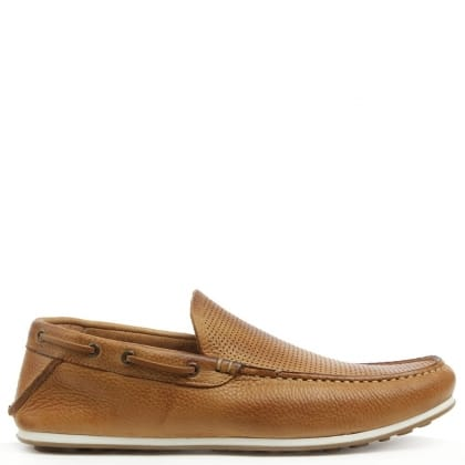 Bargoed Tan Leather Perforated Loafer