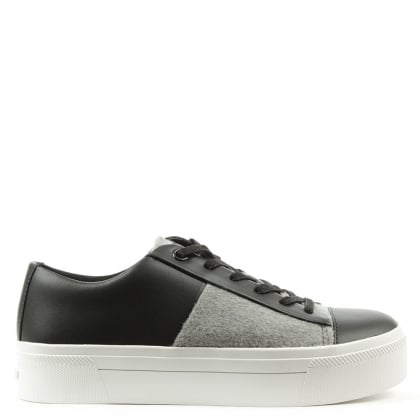 Bari Black Leather Platform Trainer