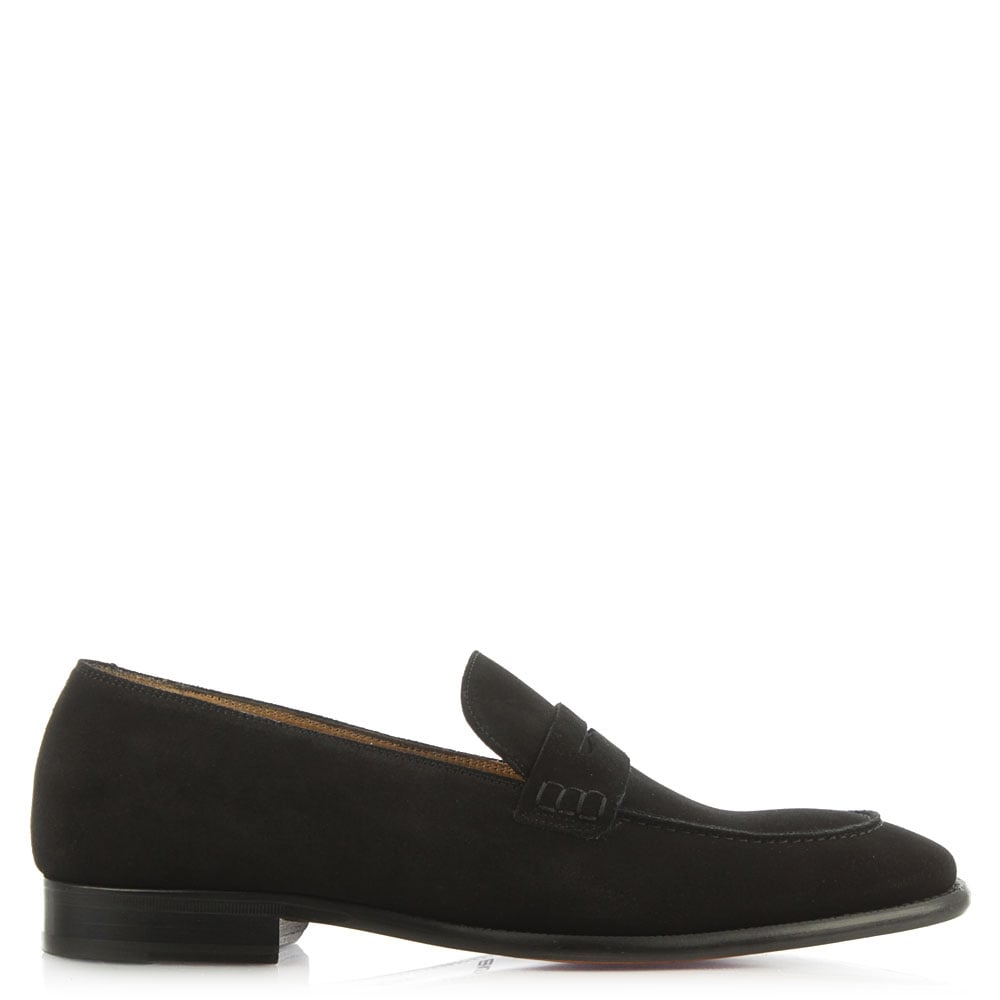 Austin Reed Barker Black Suede Saddle Stitch Loafer