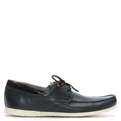 Barlace Blue Leather Lace Up Loafers
