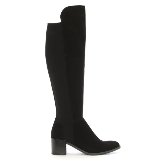 Barnsbury Black Suede Heeled Boot