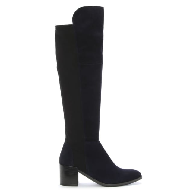 Barnsbury Navy Suede Heeled Boot